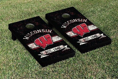 Wisconsin Badgers Cornhole Game Set Banner Vintage Version