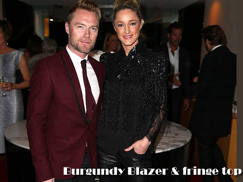 Ronan in Men's burgundy blazer & tie & Storm in chic all-black outfit