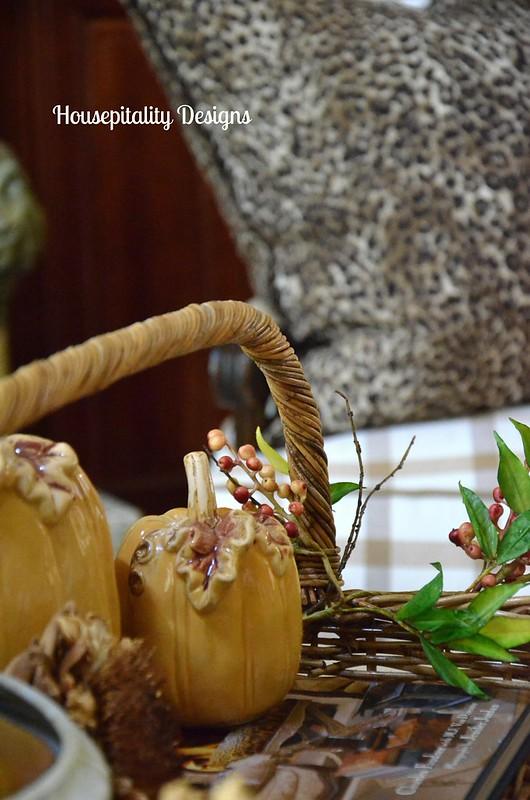 Ceramic Pumpkins & Cheetah Pillow/Housepitality Designs