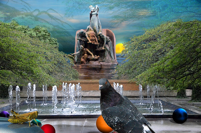Pigeon, Seascape, Balls and the Art Institute of Chicago Courtyard, August 5, 2014 22-10 bpx