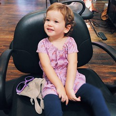 This little lady was getting over an illness early this week and had to hang out with me all day instead of going to school.  She was so good at the hair salon!  I just love having a little lady sidekick.  #babygirl #twoyearsold #sidekick #hydeedwards