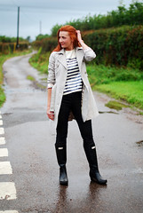 Sequinned Breton stripes, trench and wellies