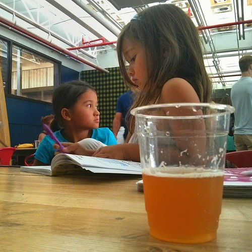 This is Dogfish Head's 120-minute IPA. I had to sit down for this one at 18% ABV. #beertastingwithkids #parentingfail