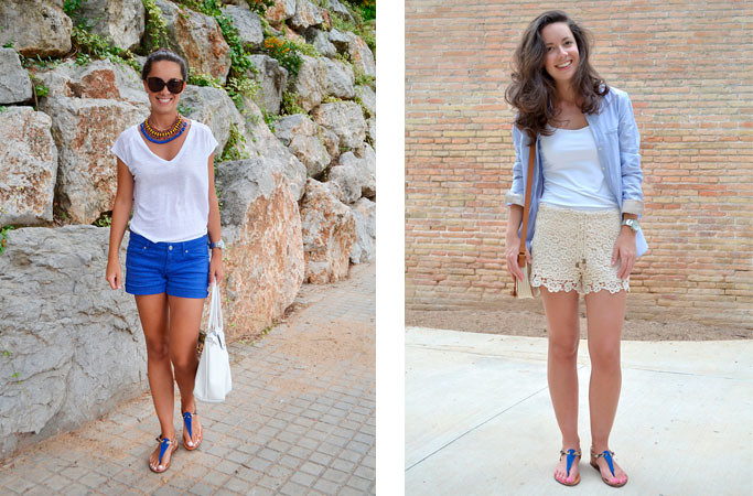 4 maneras de llevar sandalias azul eléctrico