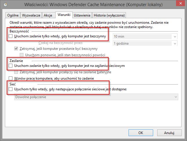Windows Defender - ustawienia zadania