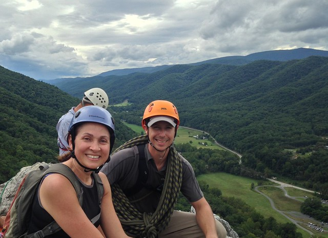 At the summit of Seneca Rocks, with Massey Teel from the Seneca Rocks Guides and Climbing School