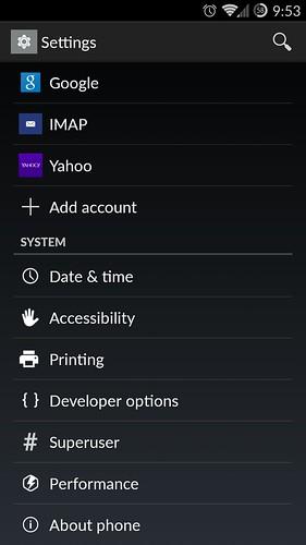 CyanogenMod developer opciók