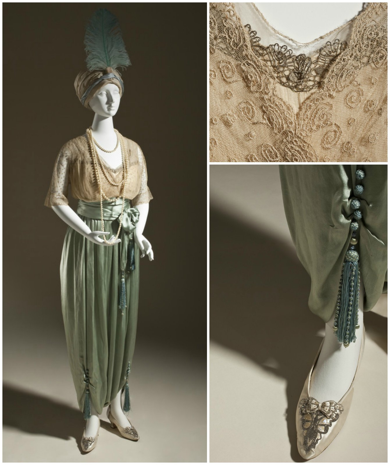 1913. Woman's Lounging Pajamas. Callot Soeurs. Silk net (tulle) and silk satin (charmeuse) with metallic-thread passementerie and silk tassels. Credit LACMA.
