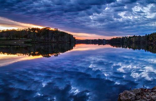 sunset ohio hammertownlake lake jackson water reflection clouds