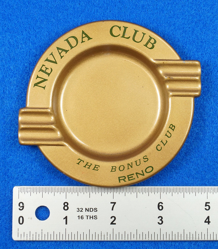 RD15055 Vintage Ashtray NEVADA CLUB - THE BONUS CLUB - RENO Copper Tone Metal Art Deco DSC06811