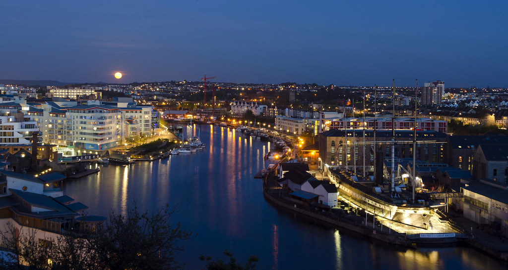 Moonrise over Harbourside, Bristol