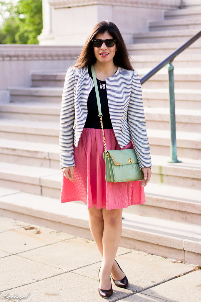 striped blazer, pink skirt, mint bag.jpg