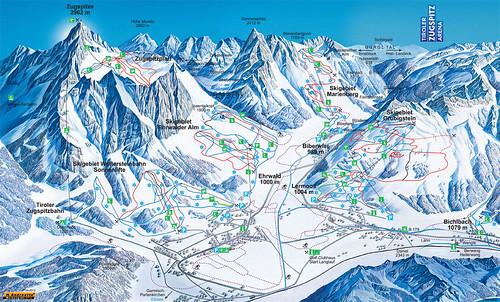 Ehrwald - mapa sjezdovek