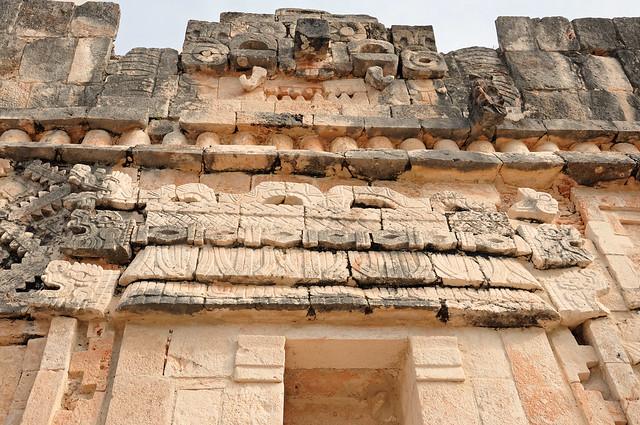 Mayan Stone Carvings Depicting Feathered Serpent God Kukulkan