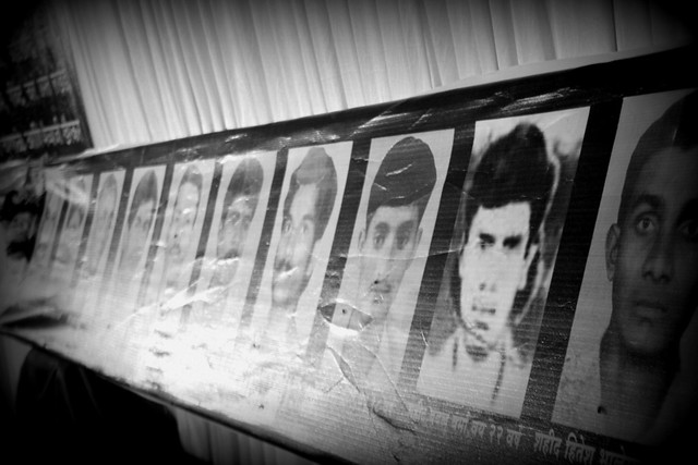 Flex photos of the 11 Dalits who were massacred on 11th July 1997