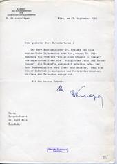 112. Rudolf Kirchschläger külügyi főtitkárhelyettes levele Bruno Kreisky szövetségi miniszter kéréséről