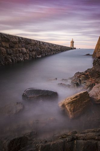 sea lighthouse long exposure harbour le granite guernsey channelislands castlecornet herm saintpeterport