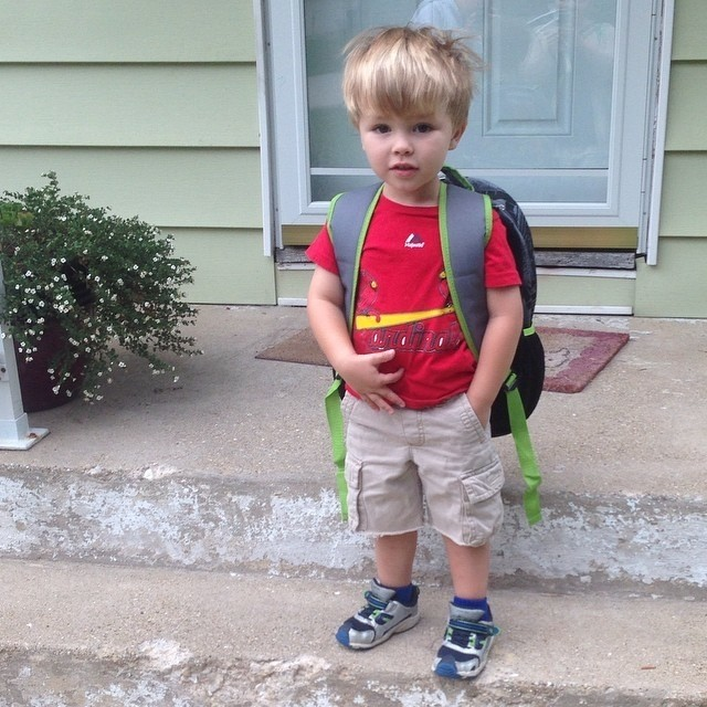"regram @mrsshoo G's first day of ""school"". He's rocking the Ninja Turtle backpack and some bedhead. #cowabunga #graysongram"