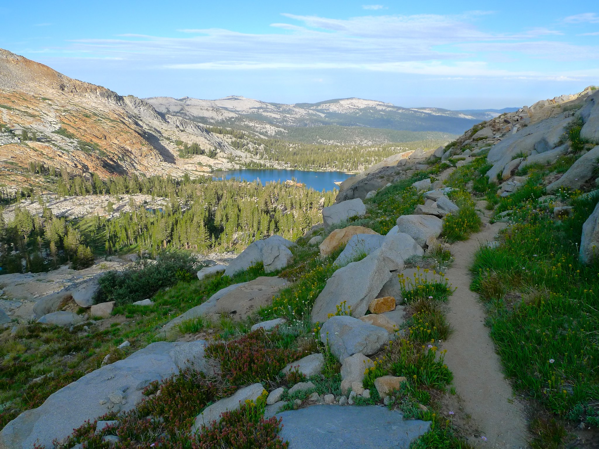 Looking west down on Lower Ottoway Lake from the trail to Red Peak Pass