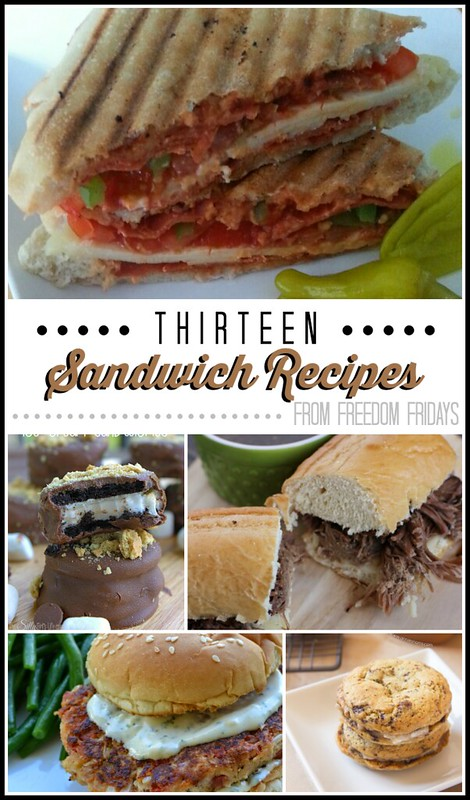 13 sandwich recipes shared at Freedom Fridays - Some are sweet and some are savory! :)