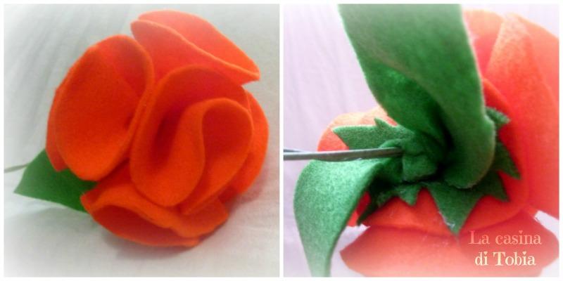 fiori di feltro con cerchi di stoffa