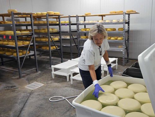 Nancy Mims tests a batch of cheese. NRCS photo.