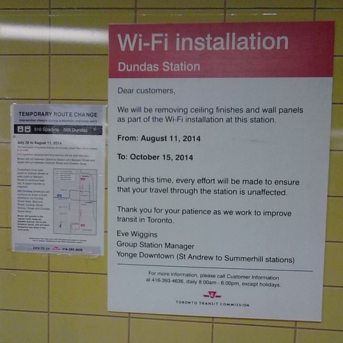 Upcoming WiFi installation at Dundas station