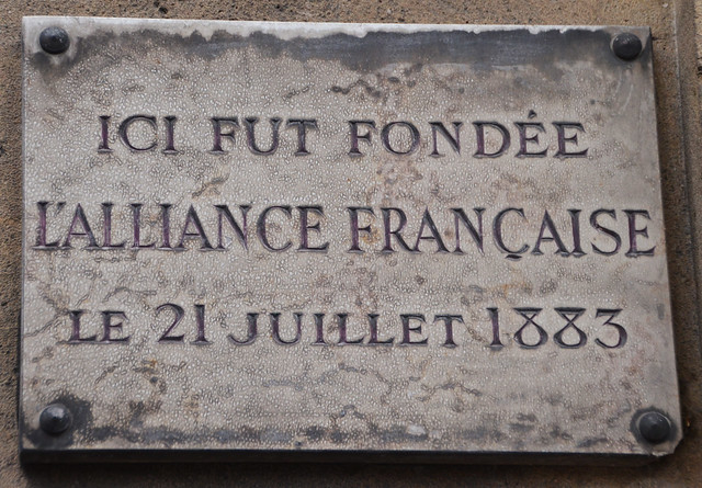 L'Alliance Française plaque - 215 Boulevard Saint Germain, Paris 7th arr