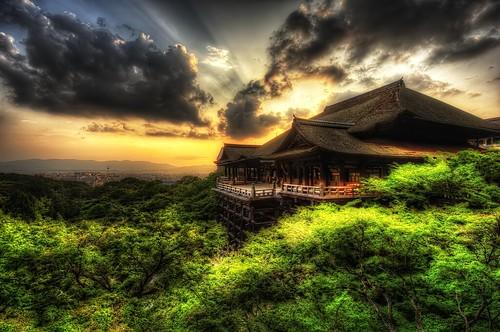 city trees sunset japan clouds temple nikon kyoto view 1224mm kiyomizudera hdr photomatix d700