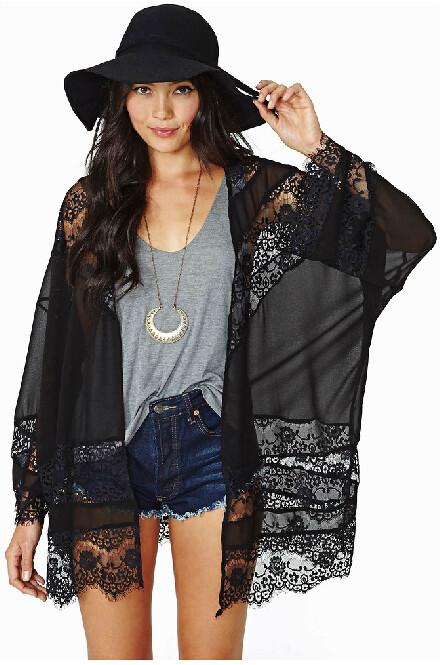 O4 Long Sleeved Black Sheer Kimono