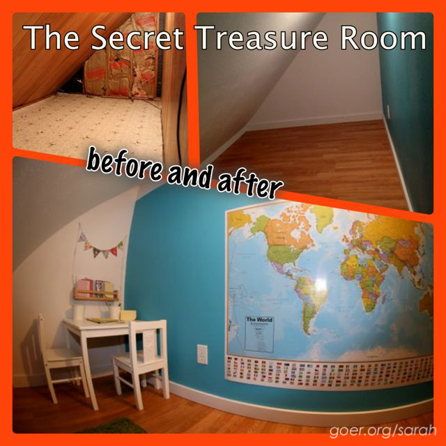 Secret Treasure Room before and after