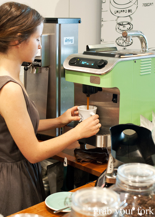 Extracting coffee from the Clover at The League of Honest Coffee, Melbourne