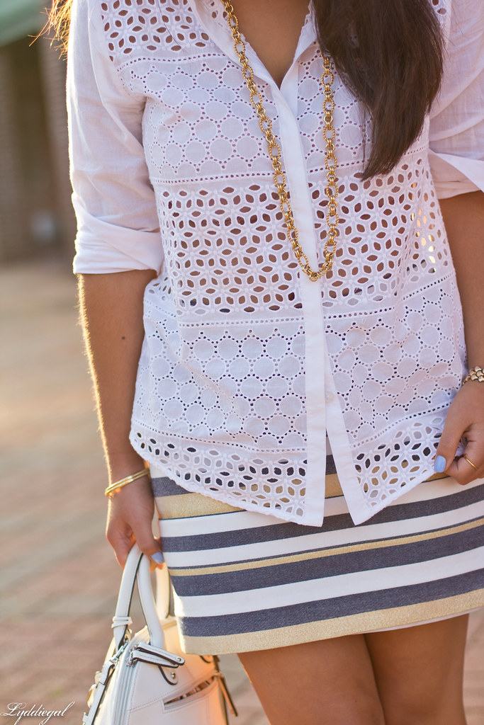 white eyelet lace buttondown, striped mini skirt-4.jpg