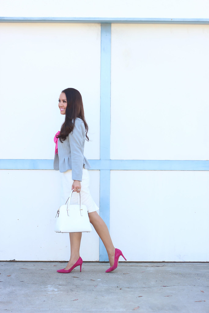 H&M Gray Blazer and PInk Bow Blouse-2