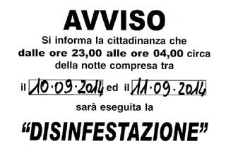Noicattaro. Disinfestazione 10-11 Settembre front