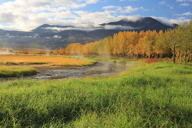 Steaming Pilgrim Lagoon, Fall Colors and Kiqluiak Mountains by Dick Benoit, Reno, Nevada, USA.