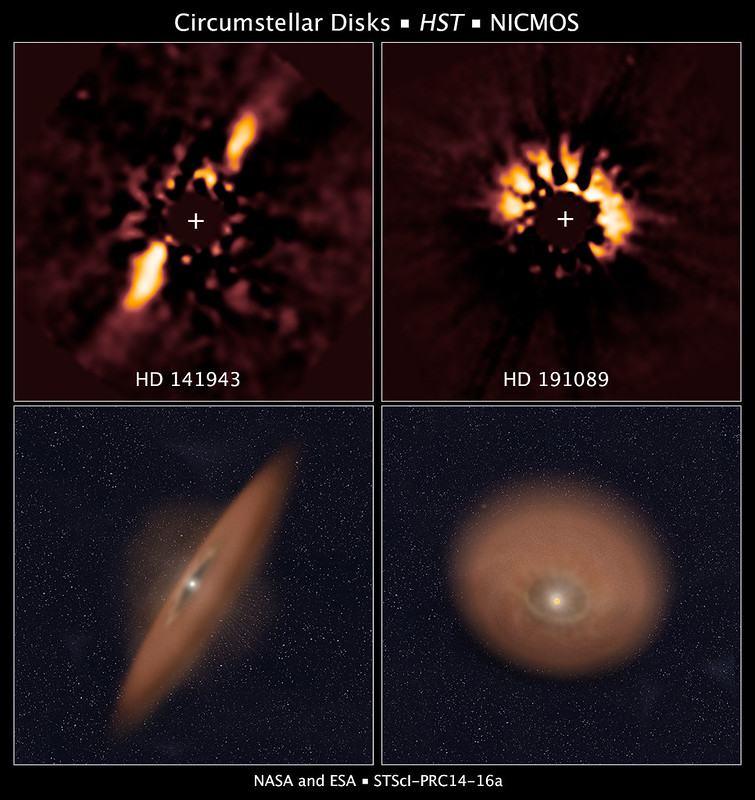 Original and improved photos of protoplanetary disks of stars HD 141943 and HD 191089