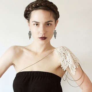New lace epaulette and earrings in the shop www.whiteowl.etsy.com #bodyjewelry #fallfashion #fashion  #lace #lookbook #bride  #boho  #goth #girly #romantic #epaulette #shoulderjewelry