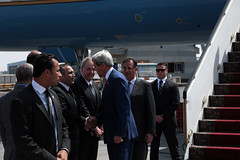 U.S. Secretary of State John Kerry arrives in Cairo, Egypt, September 13, 2014. [State Department photo/ Public Domain]