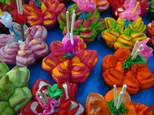 Floating Bread Lanterns in the Shape of a Lotus at  Loi Krathong in Bangkok