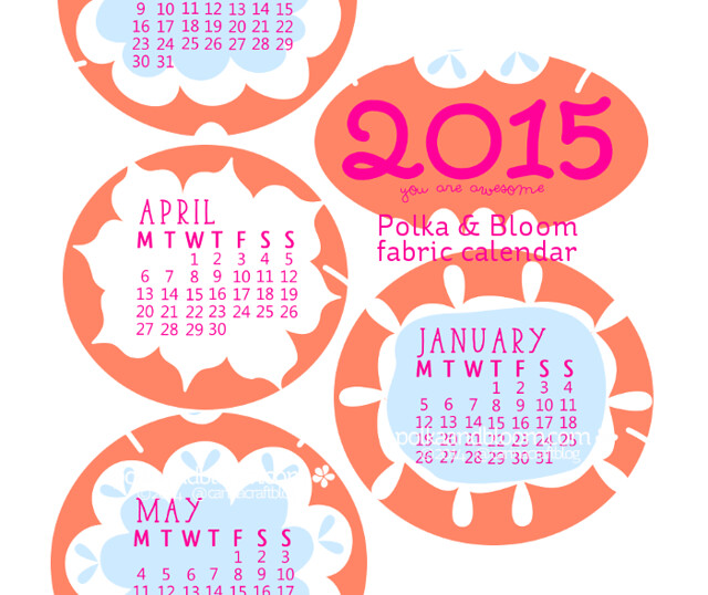 2015 Calendar Fabric Panel-Polka and Bloom