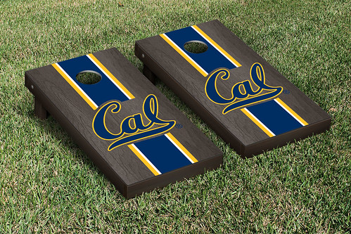 California Berkeley Golden Bears Cornhole Game Set Onyx Stained Stripe Version
