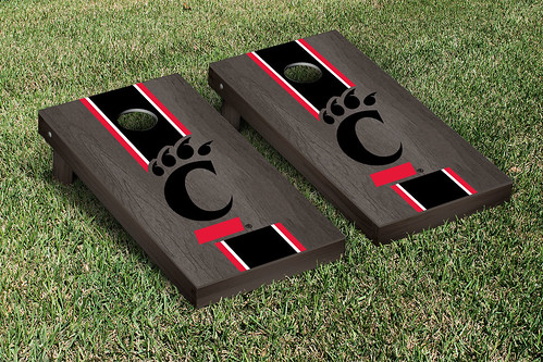 University of Cincinnati Bearcats Cornhole Game Set Onyx Stained Stripe Version