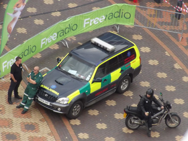 Zombie Walk Birmingham 2014 - Centenary Square - Ambulance Private EMS Medic 002 & Emergency Response Team motorbike