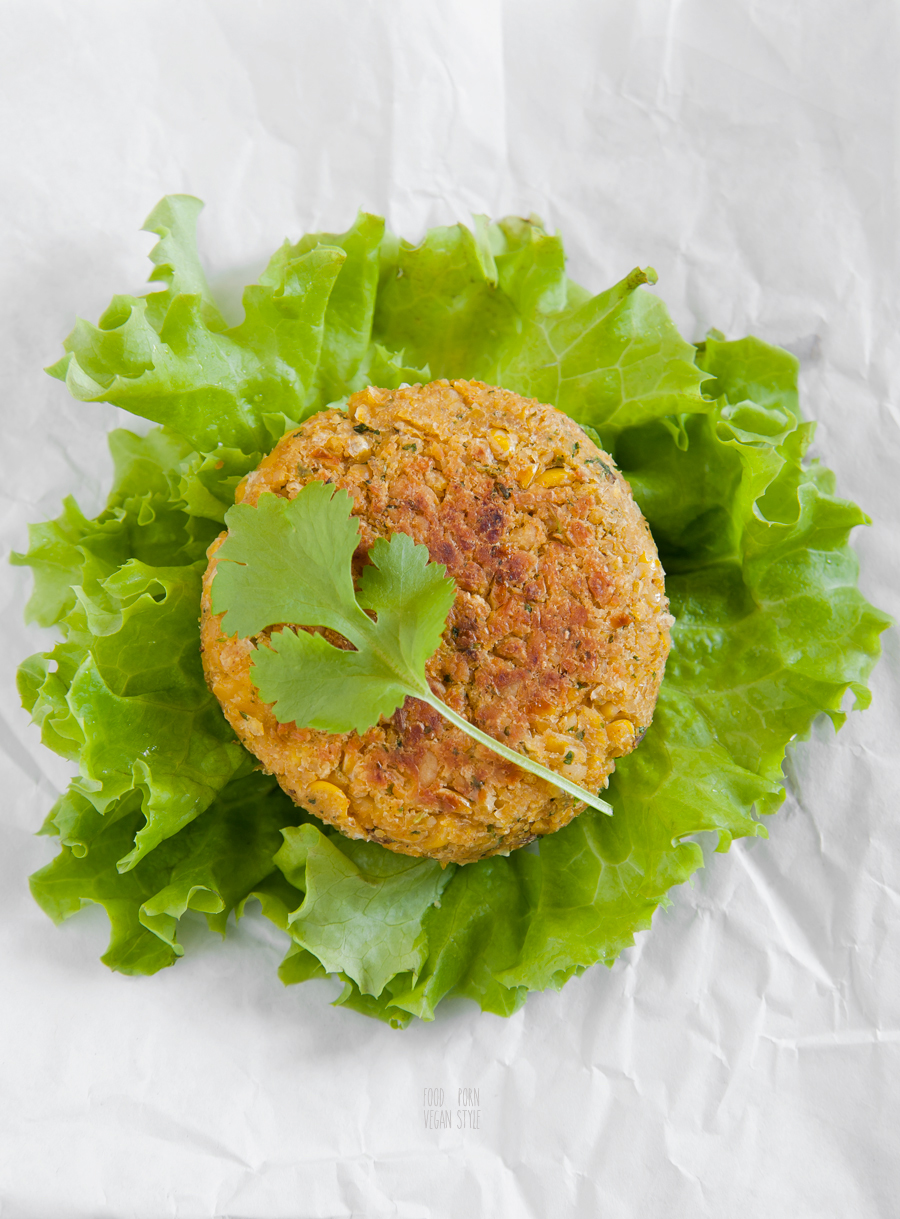 Vegan burger with chickpeas and sweetcorn