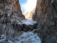 Die Felsrinne empor, Aufstieg Hochbrunner Schneid