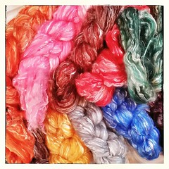 Minerva; a 50/50 Merino/Tencel roving, debuting at Fiber-In and coming to the shop soon after. #handdyedroving