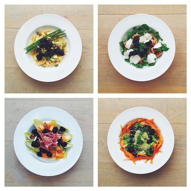 Blackberries week. 1) vegan. 2) vegetarian 3) meat 4) raw. #ham #salad  #happydesksalad #desklunch #desk #nutrition #nutritionist #notsdadesklunch #fit #fitness #instafood #instasalad #feelgood #healthy #healthyfood #saladpride #saladlove #saladjam #h
