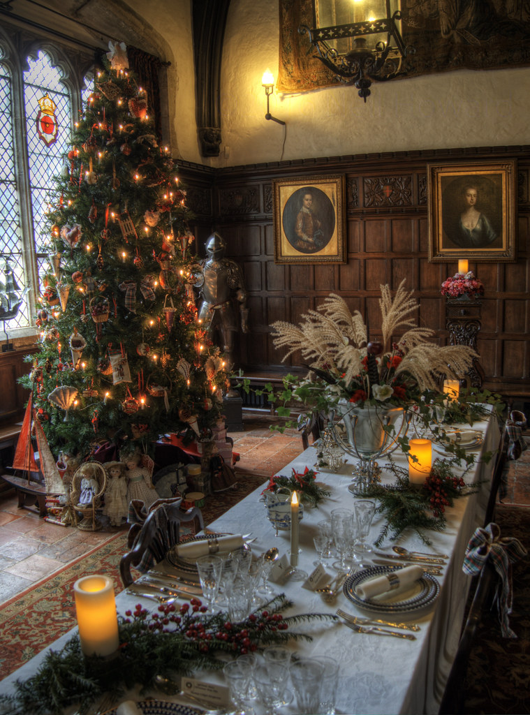 Ightham Mote , Great Hall, ready for Christmas