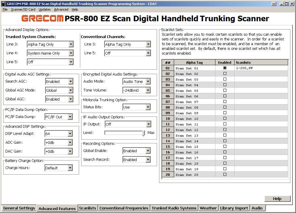 Unitrunker and PSR800 for Getting Motorola/P25 Parameters